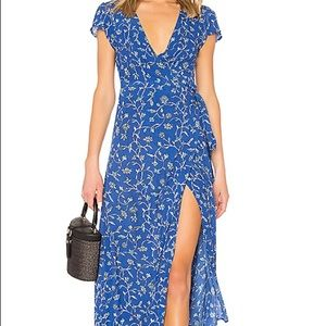 Amuse Society Summer Safari Wrap Dress Size S Blue